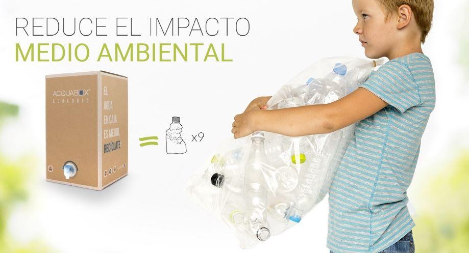compartiva de 1 caja de Acquabox con 9 botellas de agua